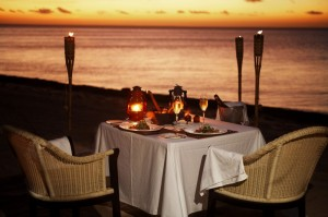 Eating Dinner on the beach in Tahiti